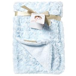 """Blankets and Beyond Baby Blue Rosette Blanket 30"""" x 30"""""""
