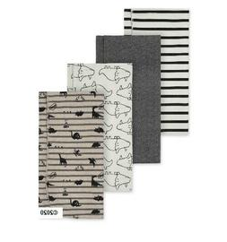 Gerber Baby Boy 4-Pack Organic Cotton Flannel Blankets Gray