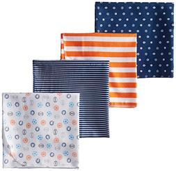 New Gerber Baby Boy Blue Orange Sports Stripes Cotton Flanne