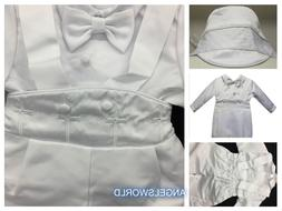 Baby Boy Christening Baptism white Outfit/Suspender/Cross/3