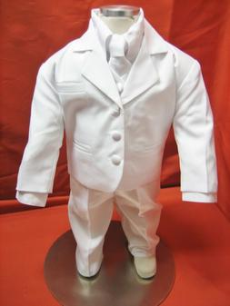 Baby Boy Christening Baptism white Suit/Wedding/Tie 5 pieces