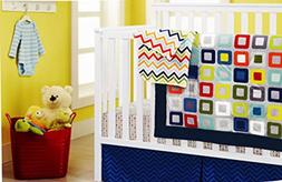 New 4pcs Baby Boy Crib Bedding Set : 1)quilt,1)crib sheet,1)