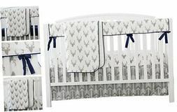 Baby Boy Crib Bedding White Grey Woodland Arrow Antlers Deer