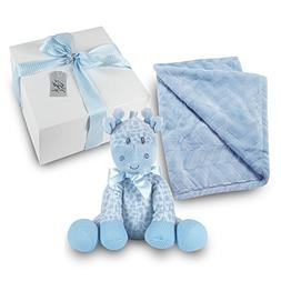 Baby Boy Gift Set - Plush Blue Blanket with Stuffed Blue Rat