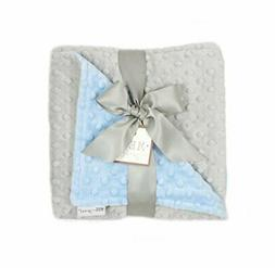 MEG Original Baby Boy Reversible Minky Dot Blanket Blue &amp
