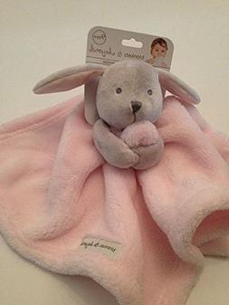 Blankets And & Beyond Baby Boy Security Lovey Pink Grey Bunn