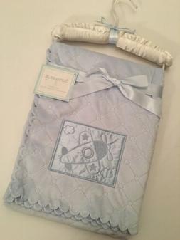 Sumersault Baby Boy Velour Blanket Blue Satin Embroidered Ai