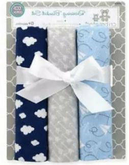 Cribmates Baby Boys 3 Pack Flannel Printed Receiving Blanket