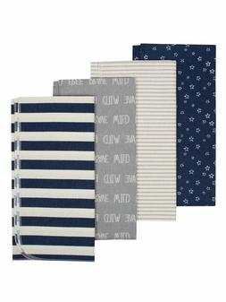 Gerber Baby Boys 4 Pack Organic Cotton Flannel Blankets NEW