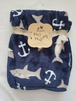 baby boys blanket blue sharks ocean 30