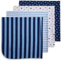 Gerber Baby Boys 4 Pack Flannel Receiving Blanket, Transport