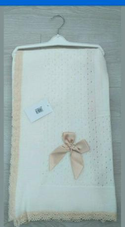 BABY BOYS GIRLS ROMANY SPANISH KNITTED BLANKET SHAWL CHRISTENING LACE WHITE ***