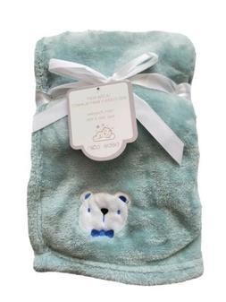 Baby Boys Plush Blanket Shower Gift, Green, 30x40, Very Soft
