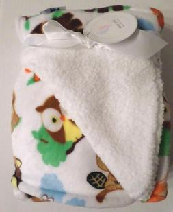 Tiny Toes Baby Boys Plush Forest Animal Baby Blanket White/M