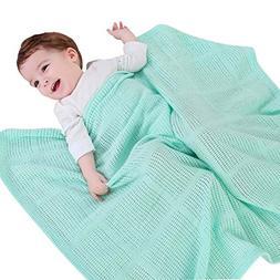 Fineser Baby Cellular Blanket,Cotton Baby Cot Blanket Breath