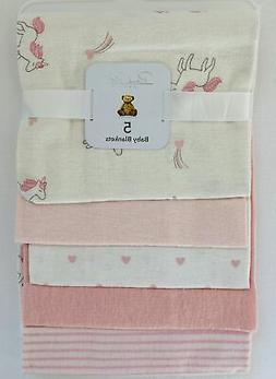 Rene Rofe Baby Collection 5-Pack Cotton Blankets Pink Unicor