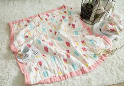 J-pinno Baby Colorful Clouds Nursery Muslin Cotton Bed Quilt