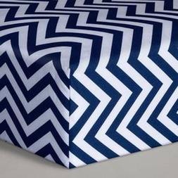 Circo Baby Cotton Chevron Fitted Crib Sheet, Navy Blue