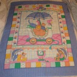 BABY CRIB BLANKET QUILT ~ GOOSE BUGGY with ANIMALS ~ HOMEMAD