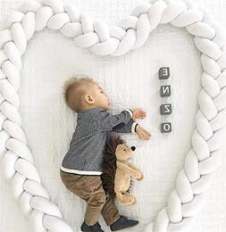 Baby Crib Bumper, QSJi Knotted Braid Weaving Pillow Soft Plu