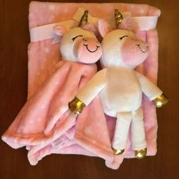 Hudson Baby 3 Piece Set Pink Blanket Plush Unicorn Toy and S