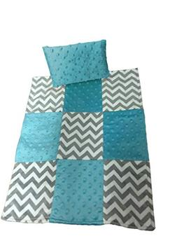 Baby Doll Cuddly Minky Chevron Patch Doll Blanket and Pillow