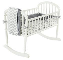 Baby Doll Bedding Minky Chevron Cradle Bedding Set, Grey