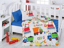 LaModaHome Education Baby Bedding Set, 100% Cotton - Lorry T