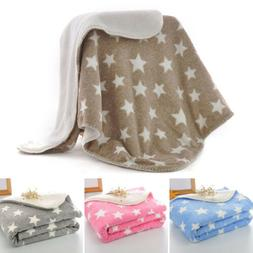 Baby Fleece Blanket Thick Soft Kids Napping Swaddle Stylish