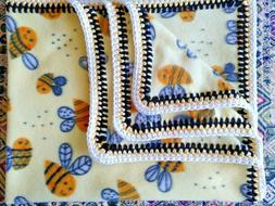 Baby Fleece Blanket w/Crochet Edge    BUMBLE BEES ON YELLOW