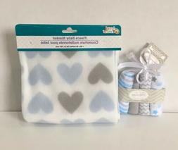 Baby Fleece Receiving Blanket Blue Gray Hearts Plus Washclot