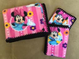 Baby Gift Set - Pink Minnie Mouse Print Fleece Blanket w/ 2