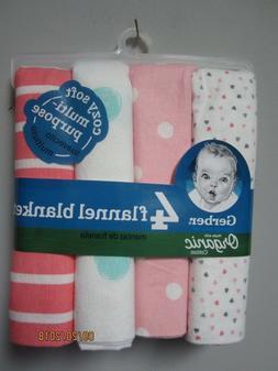 Gerber Baby Girl 4-Pack Organic Cotton Pink Hearts/Dots Flan