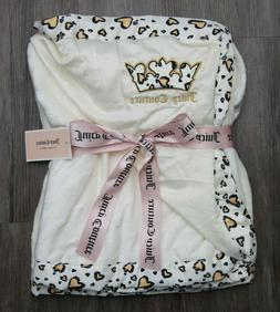 Juicy Couture Baby Girl Blanket ~ Ivory with Heart Leopard P
