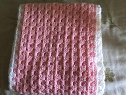 Baby Girl Blanket Light Pink & White Handmade Crochet Newbor