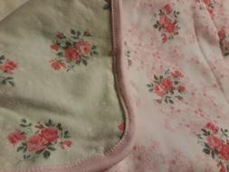 First Impressions Baby Girl Blanket Pink Green Pink Reversib