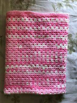 Baby Girl Blanket Soft Pink & White Handmade Crochet Newborn
