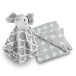 Baby Girl Blanket and Stuffed Elephant Gift Set - Grey Circl