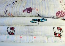 Baby Girl-100% Cotton Nursery Blankets-Set of 4-with 4 Strol