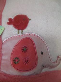 Baby Girl Elephant and Birdie Soft Pink Blanket