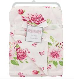 Baby Girl Flowers & Butterflies Blanket Plush Pink Minky NWT