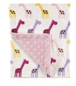 Baby Girl Giraffe Minky Blanket NWT Hudson Baby Pink Purple
