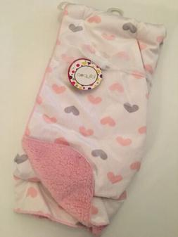 Lollypop Baby Girl Heart Print Blue Pink Ivory Sherpa Blanke