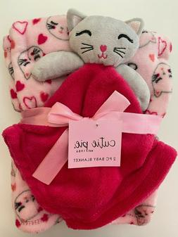 CUTIE PIE Baby Girl Lovey Security Blanket 2 Piece Set CATS