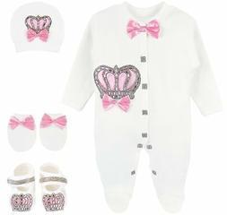 Lilax Baby Girl Newborn Crown Jewels Layette 4 Piece Gift Se