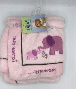 "Nojo Baby Girl Newborn  Elephant Super Soft Blanket 28"" x 28"