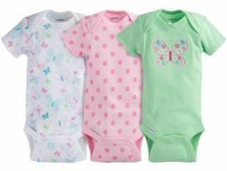 GERBER BABY GIRL Onesies Bodysuits Variety 3-Pack Baby Showe