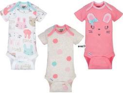 GERBER BABY GIRL Organic Cotton Onesies Bodysuits 3-Pk. Baby