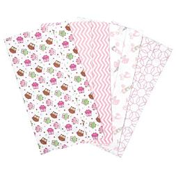 Baby Girl Owl Garden 4 Deluxe Flannel Burp Cloths Gift Set