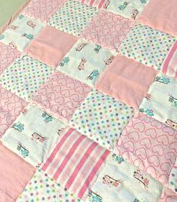 Baby Girl Pink Flannel Patchwork Quilt Handmade Crib Blanket